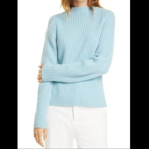 Vince Ribbed Raglan Blue Wool Cashmere Sweater